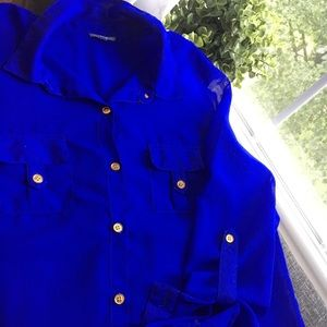 Charlotte Russe blue blouse with gold buttons.
